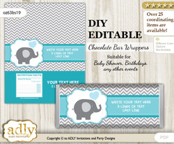 DIY Personalizable Boy Elephant Chocolate Bar Candy Wrapper Label for Boy  baby shower, birthday Turquoise , editable wrappers n