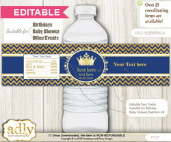 DIY Text Editable Crown Prince Water Bottle Label, Personalizable Wrapper Digital File, print at home for any event  v