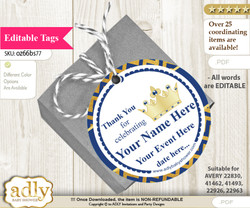 Crown Prince Thank You Tags, Circle Favor Tags Personalizable for Shower, Birthday v