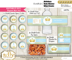 DIY Text Editable Blue Prince Baby Shower, Birthday digital package, kit-cupcake, goodie bag toppers, water labels, chocolate bar wrappers