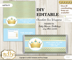 DIY Personalizable Blue Prince Chocolate Bar Candy Wrapper Label for Blue  baby shower, birthday Chevron , editable wrappers