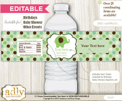 DIY Text Editable Boy Peanut Water Bottle Label, Personalizable Wrapper Digital File, print at home for any event