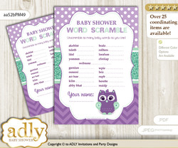 Girl Owl  Word Scramble Game for Baby Shower
