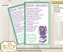 Request a Book Instead of a Card for Girl Owl  Baby Shower or Birthday, Printable Book DIY Tickets, Mint, Purple Green