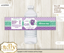 Girl Owl  Water Bottle Wrappers, Labels for a Owl   Baby Shower, Purple Green, Mint
