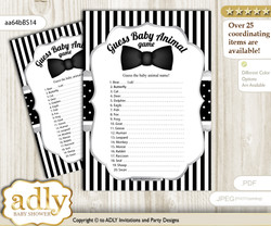 Printable Boy Bow Tie Baby Animal Game, Guess Names of Baby Animals Printable for Baby Bow Tie Shower, Black Silver, Little Man