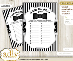 Boy Bow Tie Baby ABC's Game, guess Animals Printable Card for Baby Bow Tie Shower DIY – Little Man