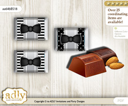 Boy Bow Tie Chocolate Nuggets Candy Wrapper Label for Baby Boy Shower  Black Silver , Little Man