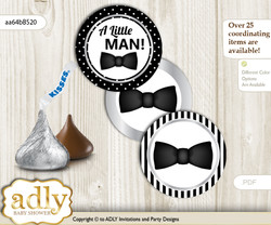Printable  Boy Bow Tie Candy Kisses for Baby Boy Shower DIY Black Silver , Little Man