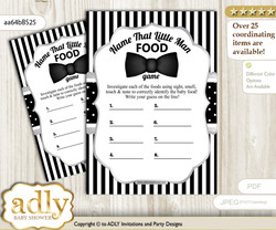 Boy Bow Tie Guess Baby Food Game or Name That Baby Food Game for a Baby Shower, Black Silver Little Man