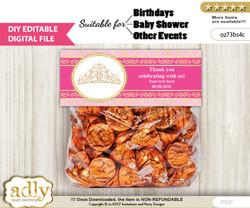 DIY Text Editable Crown Tiara Goodie  Treat Bag Toppers, Favor Bag Digital File, print at home