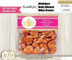 DIY Text Editable Hot Pink Princess Goodie  Treat Bag Toppers, Favor Bag Digital File, print at home