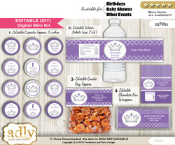 DIY Text Editable Royal Princess Baby Shower, Birthday digital package, kit-cupcake, goodie bag toppers, water labels, chocolate bar wrappers bb