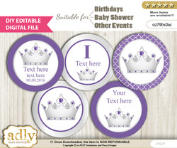 DIY Text Editable Royal Princess Cupcake Toppers Digital File, print at home, suitable for birthday, baby shower, baptism nnm