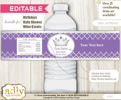DIY Text Editable Royal Princess Water Bottle Label, Personalizable Wrapper Digital File, print at home for any event  m nn