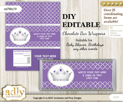 DIY Personalizable Royal Princess Chocolate Bar Candy Wrapper Label for Royal  baby shower, birthday Purple , editable wrappers nnm