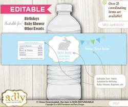 DIY Text Editable Boy Bunny Water Bottle Label, Personalizable Wrapper Digital File, print at home for any event