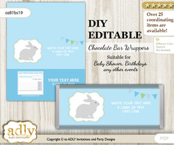 DIY Personalizable Boy Bunny Chocolate Bar Candy Wrapper Label for Boy  baby shower, birthday Blue Green , editable wrappers