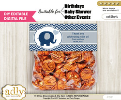 DIY Text Editable Boy Peanut Goodie  Treat Bag Toppers, Favor Bag Digital File, print at home  n
