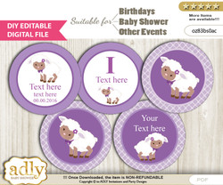 DIY Text Editable Purple Lamb Cupcake Toppers Digital File, print at home, suitable for birthday, baby shower, baptism