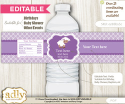 DIY Text Editable Purple Lamb Water Bottle Label, Personalizable Wrapper Digital File, print at home for any event