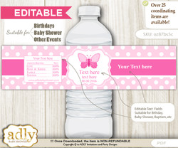DIY Text Editable Pink Butterfly Water Bottle Label, Personalizable Wrapper Digital File, print at home for any event