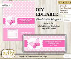 DIY Personalizable Pink Butterfly Chocolate Bar Candy Wrapper Label for Pink  baby shower, birthday Soft Pink , editable wrappers