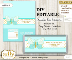 DIY Personalizable Neutral Butterfly Chocolate Bar Candy Wrapper Label for Neutral  baby shower, birthday Turquoise , editable wrappers