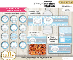 DIY Text Editable Silver Prince Baby Shower, Birthday digital package, kit-cupcake, goodie bag toppers, water labels, chocolate bar wrappers