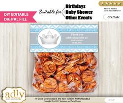 DIY Text Editable Silver Prince Goodie  Treat Bag Toppers, Favor Bag Digital File, print at home