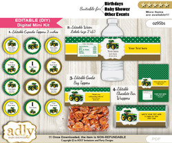 DIY Text Editable Boy Tractor Baby Shower, Birthday digital package, kit-cupcake, goodie bag toppers, water labels, chocolate bar wrappers