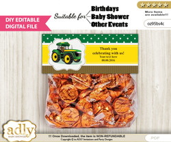 DIY Text Editable Boy Tractor Goodie  Treat Bag Toppers, Favor Bag Digital File, print at home
