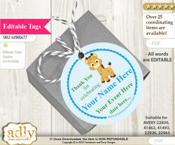 Boy Giraffe Thank You Tags, Circle Favor Tags Personalizable for Shower, Birthday