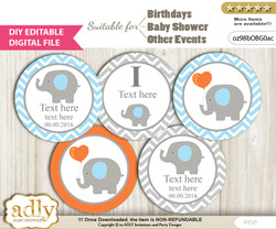 DIY Text Editable Boy Elephant Cupcake Toppers Digital File, print at home, suitable for birthday, baby shower, baptism nn