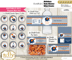 DIY Text Editable Boy Elephant Baby Shower, Birthday digital package, kit-cupcake, goodie bag toppers, water labels, chocolate bar wrappers m