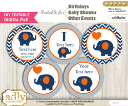 DIY Text Editable Boy Elephant Cupcake Toppers Digital File, print at home, suitable for birthday, baby shower, baptism m