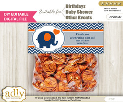 DIY Text Editable Boy Elephant Goodie  Treat Bag Toppers, Favor Bag Digital File, print at home  m