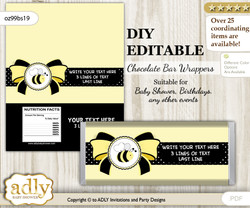 DIY Personalizable Girl Bee Chocolate Bar Candy Wrapper Label for Girl  baby shower, birthday Yellow Black , editable wrappers