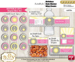 DIY Text Editable Girl Sunshine Baby Shower, Birthday digital package, kit-cupcake, goodie bag toppers, water labels, chocolate bar wrappers