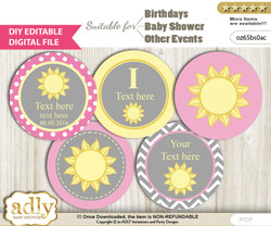 DIY Text Editable Girl Sunshine Cupcake Toppers Digital File, print at home, suitable for birthday, baby shower, baptism