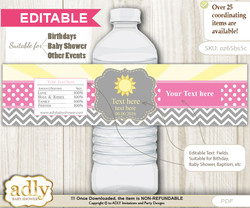 DIY Text Editable Girl Sunshine Water Bottle Label, Personalizable Wrapper Digital File, print at home for any event