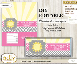 DIY Personalizable Girl Sunshine Chocolate Bar Candy Wrapper Label for Girl  baby shower, birthday Grey , editable wrappers