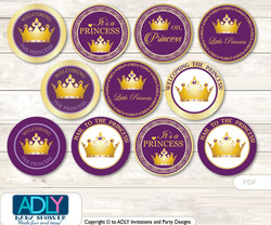 Baby Shower Purple Princess Cupcake Toppers Printable File for Little Purple and Mommy-to-be, favor tags, circle toppers, Violet, Royal