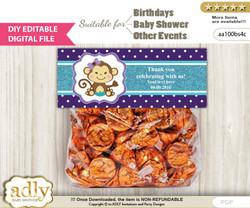 DIY Text Editable Girl Monkey Goodie  Treat Bag Toppers, Favor Bag Digital File, print at home  n