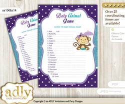 Printable Girl Monkey Baby Animal Game, Guess Names of Baby Animals Printable for Baby Monkey Shower, Purple Teal, Polka