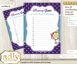 Girl Monkey Memory Game Card for Baby Shower, Printable Guess Card, Purple Teal, Polka