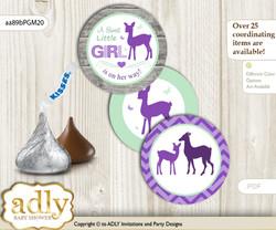 Printable  Girl Deer Candy Kisses for Baby Girl Shower DIY Purple Mint , Forest