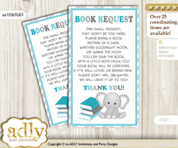 Request a Book Instead of a Card for Peanut Unisex Baby Shower or Birthday, Printable Book DIY Tickets, Chevron, Teal Gray