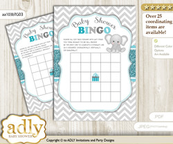 Printable Teal Gray Unisex Bingo Game Printable Card for Baby Peanut Shower DIY grey, Teal Gray, Chevron