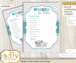 Peanut Unisex Wishes for a Baby, Well Wishes for a Little Unisex Printable Card, Chevron, Teal Gray